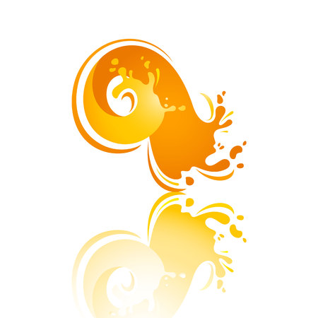 Splash orange wave with reflection, vector illustration