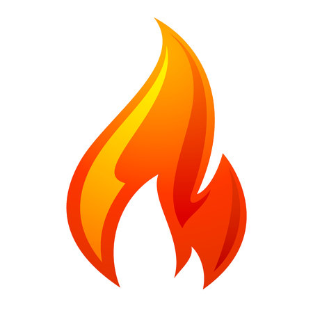 Fire flame 3d icon on a white background