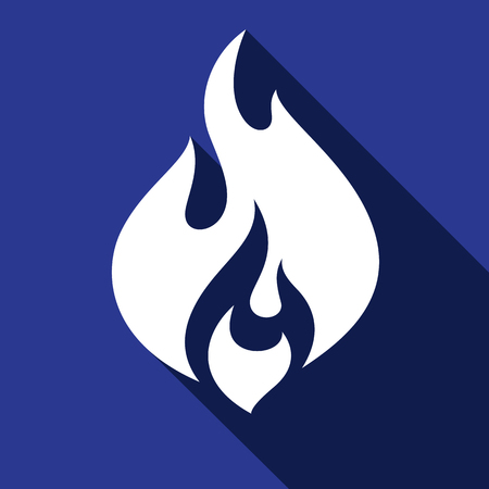 Fire, flames icons with shadow on a square shape illustration. 일러스트