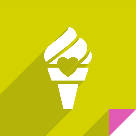 Ice cream icon with shadow on lime square sticker, vector illustration.