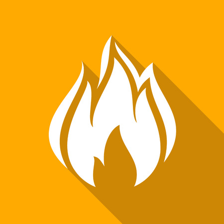Fire, flames icons with shadow on a square shape illustration. Illustration