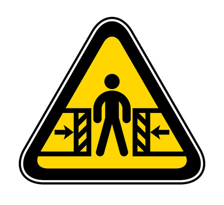 Triangular yellow Warning Hazard Symbol, vector illustration Ilustrace