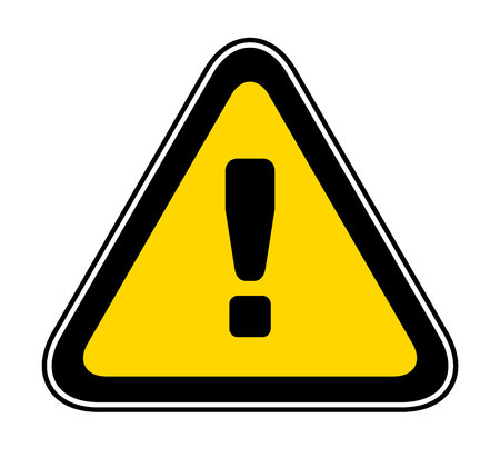 Triangular yellow Warning Hazard Symbol, vector illustration Ilustração