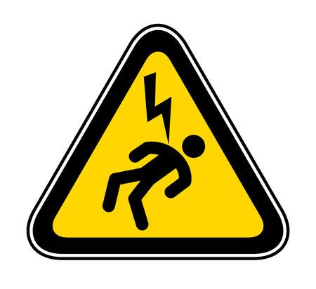 Triangular yellow Warning Hazard Symbol, vector illustration Illustration