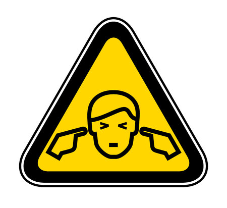 Triangular yellow Warning Hazard Symbol, vector illustration 矢量图像