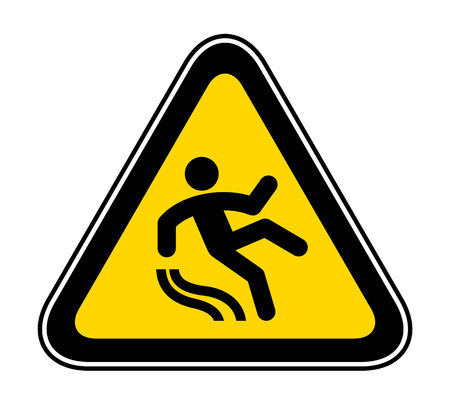 Triangular yellow Warning Hazard Symbol, vector illustration Vectores