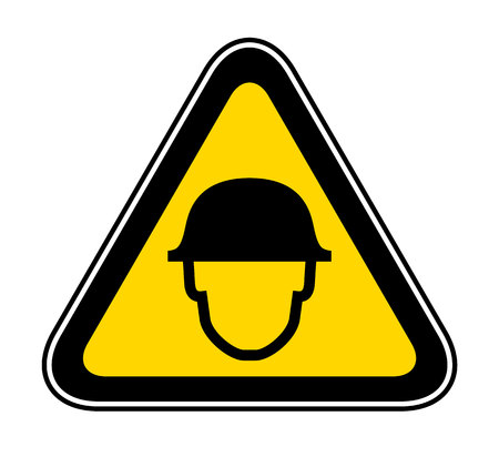Triangular yellow Warning Hazard Symbol for wearing helmet