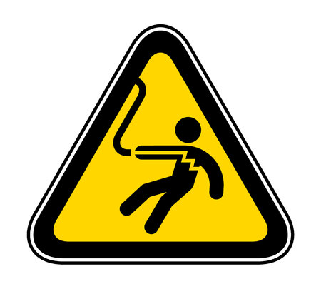 Triangular yellow Warning Hazard Symbol for danger of electrical shock Illustration