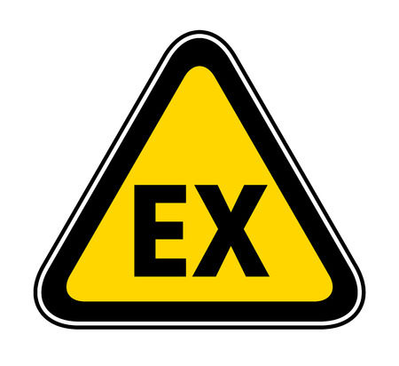 Triangular yellow Warning Hazard Symbol with the letters EX
