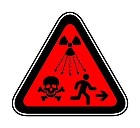 Nouvelle norme ISO - Symbole supplémentaire d'avertissement de rayonnement ionisant. Nouveau signe de rayonnement de l'ONU