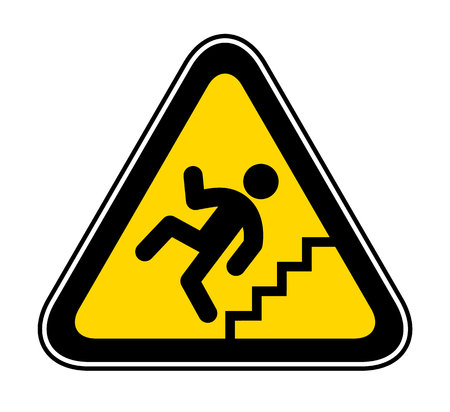 Triangular yellow Warning Hazard Symbol for the danger of stairs Illustration