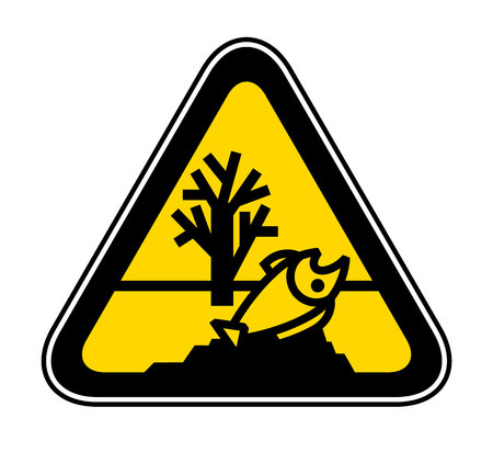 Triangular yellow Warning Hazard Symbol for contaminated water forms