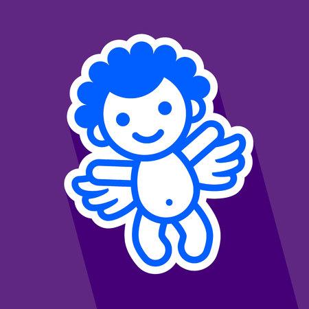 Colored sticker angel on violet background, vector illustration