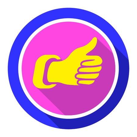 Thumbs up, bright color on a white background, vector illustration