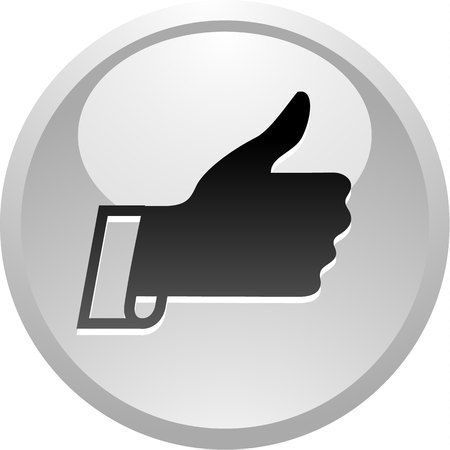 Like, icon on round gray button, vector illustration Illustration