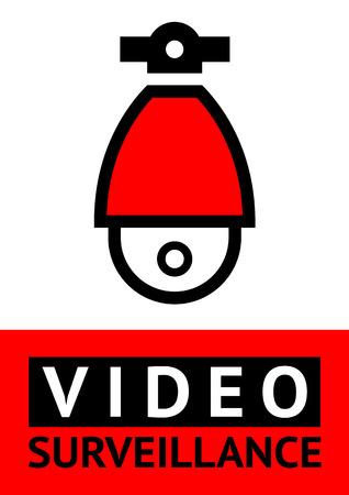 24 HR video surveillance red poster