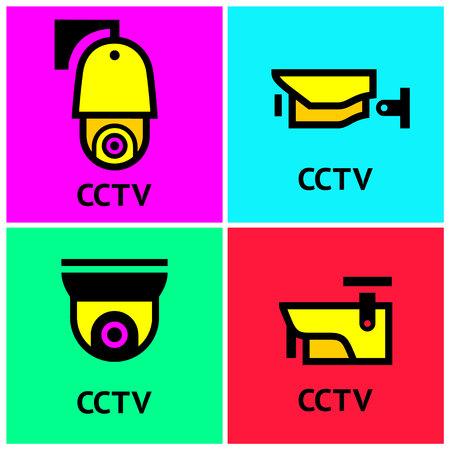 24 HR video surveillance web cameras, vector illustration