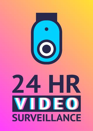 Video surveillance camera, cctv poster vector design