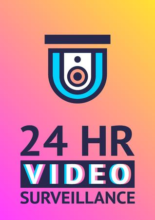 Modern sticker. Video surveillance camera, poster for print
