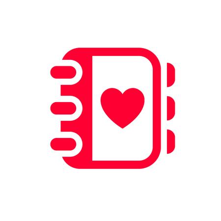 Icône d'amour ou signe de la Saint-Valentin conçu pour la célébration. Symbole rouge isolé sur fond blanc, style plat.