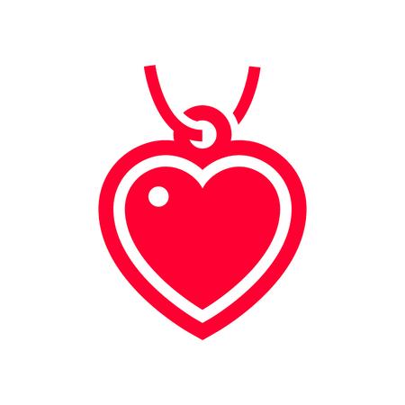 Ikona miłości lub znak Walentynki przeznaczone do świętowania. Czerwony symbol na białym tle, płaski.