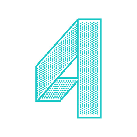 Trendy font folded from the perforated sheet. Flat alphabet, blue vector number four on a white background. 矢量图像