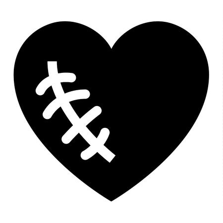 Love icon or Valentine's day sign designed for celebration. Black vector symbol isolated on white background, flat style. Illustration