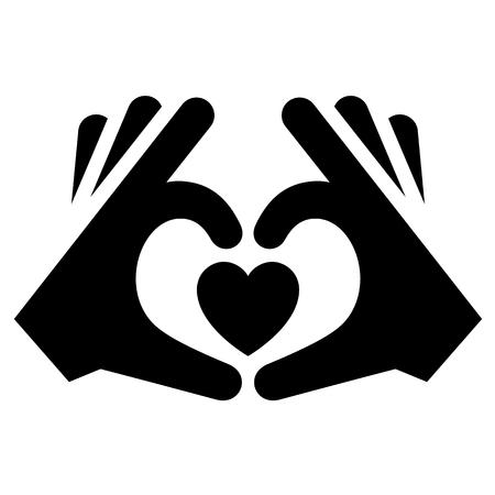 Icône d'amour ou signe de la Saint-Valentin conçu pour la célébration. Symbole de vecteur noir isolé sur fond blanc, style plat.