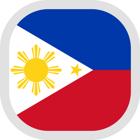 Flag of Philippines. Rounded square icon on white background, vector illustration. Stock Illustratie