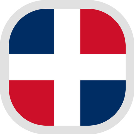 Flag of Dominican Republic. Rounded square icon on white background, vector illustration.