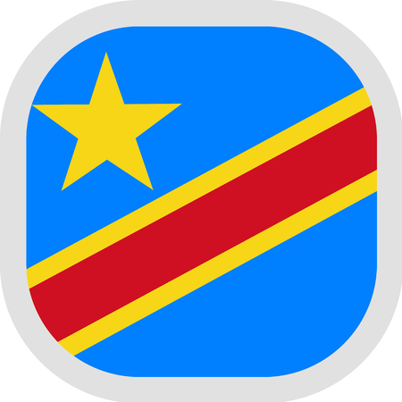 Flag of D. R. Congo .new. Rounded square icon on white background, vector illustration.