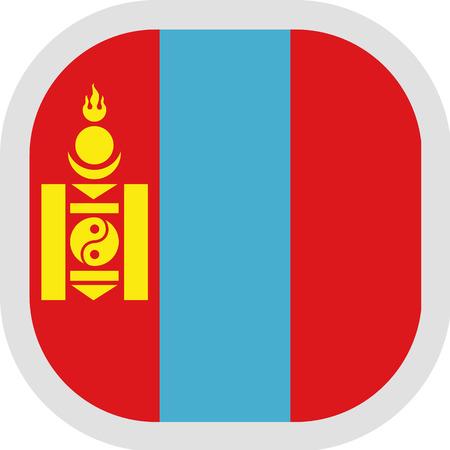 Flag of Mongolia. Rounded square icon on white background, vector illustration.