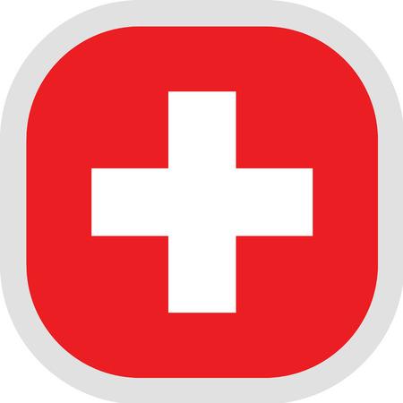Flag of Switzerland. Rounded square icon on white background, vector illustration. Illustration