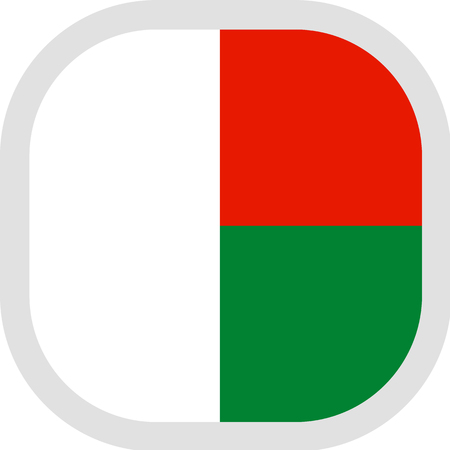 Flag of Republic of Madagascar. Rounded square icon on white background, vector illustration.