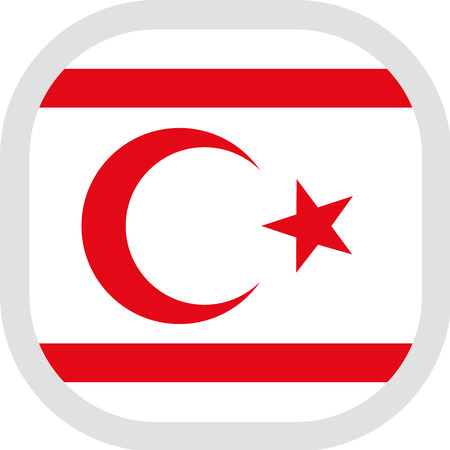 Flag of Turkish Republic of Northern Cyprus. Rounded square icon on white background, vector illustration.