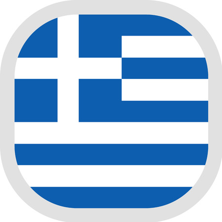 Flag of Greece. Rounded square icon on white background, vector illustration.