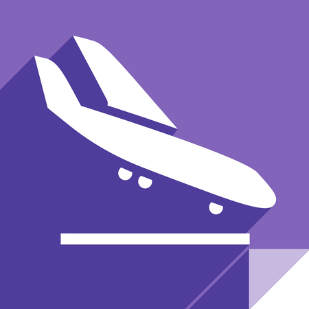 Airliner, transport flat icon, stickers square shapes, modern colors 向量圖像
