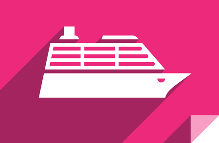 Cruise liner, transport flat icon, sticker square shape, modern color