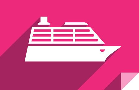 Cruise liner, transport flat icon, sticker square shape, modern color Illustration