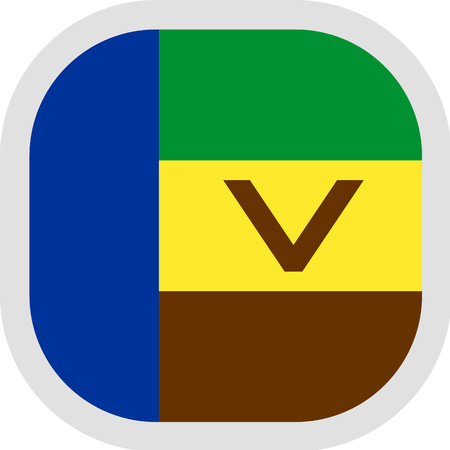 Flag of Republic of Venda. Rounded square icon on white background, vector illustration. Ilustração