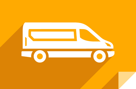 Cargo delivery van, transport flat icon, sticker square shape, modern color
