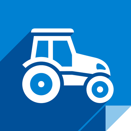 Tractor, transport flat icon, sticker square shape, modern color