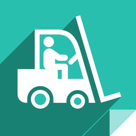 Loader, transport flat icon, sticker square shape, modern color