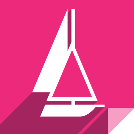 Yacht, transport flat icon, sticker square shape, modern color