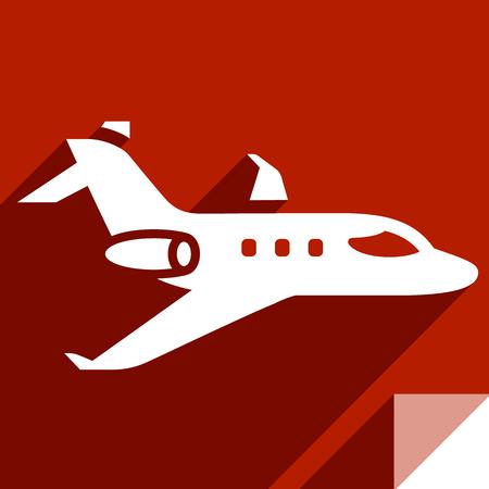 Privat jet, transport flat icon, sticker square shape, modern color