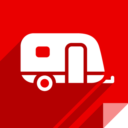 Trailer, transport flat icon, sticker square shape, modern color