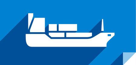 Tanker ship, transport flat icon, sticker square shape, modern color