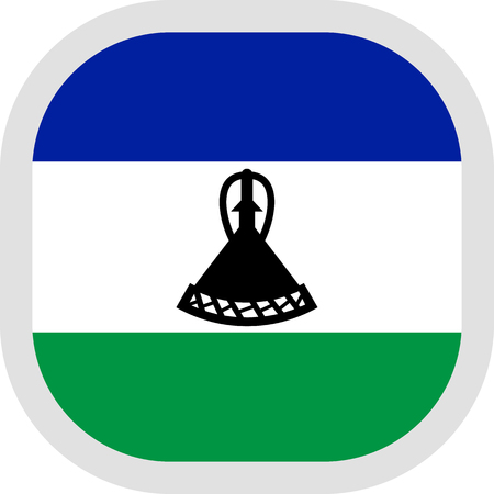 Flag of Lesotho. Rounded square icon on white background, vector illustration.
