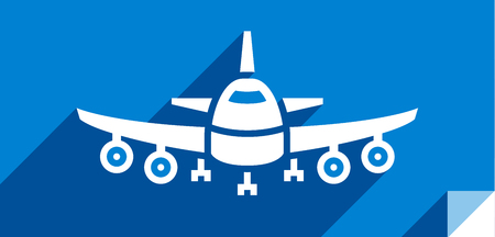 Airliner, transport flat icon, sticker square shape, modern color