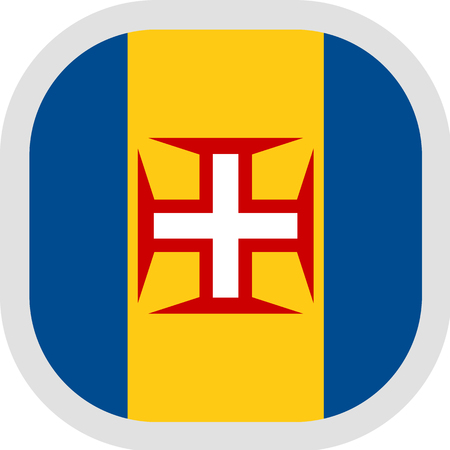 Flag of Autonomous Region of Madeira. Rounded square icon on white background, vector illustration.